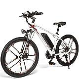 ZWJABYY Bicicletas EléCtricas MY-SM26 con Motor De 350W,BateríA De Litio ExtraíBle De 48V/8Ah,26 Pulgadas para Adultos,MontañA EléCtrica, Bicicleta EléCtrica Shimano De 21 Velocidades Barata,White