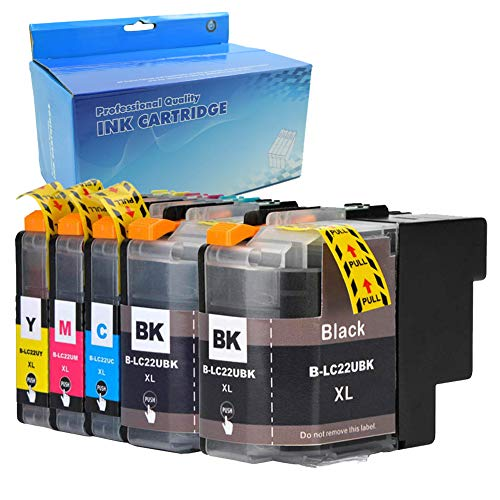 Ouguan LC22UXL Tintenpatronen, 2 x Schwarz, 1 Cyan, 1 x Magenta, 1 x Gelb; ersetzt Brother LC22U XL, hohe Kapazität, kompatibel mit Brother DCP-J785DW MFC-J985DW Drucker