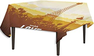 kangkaishi Paris Leakproof Polyester Tablecloth Eiffel Tower with Tulip and City Silhouette Nostalgic Town Floral Romantic Dinner Picnic Home Decor W36.2 x L36.4 Inch Orange Yellow Brown
