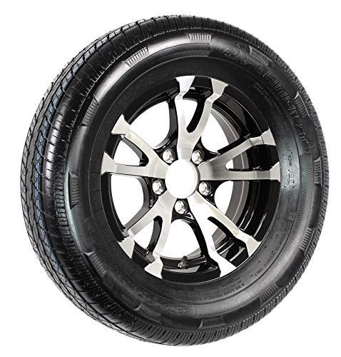 Radial Trailer Tire On Rim ST205/75R15 15 in. LRC 5 Lug Aluminum T07 Black Wheel