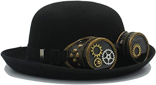 Oudan Fedora-Hut, Handarbeit-Melone mit Zahnrad-Brille Mode Cosplay Halloween Party Caps für M er, Frauen (Farbe   Schwarz Größe   56-5cm)