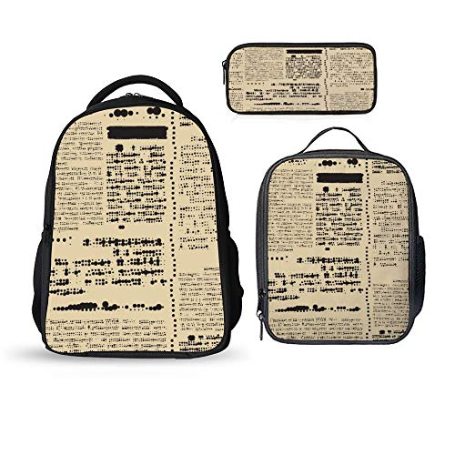 SARA NELL 3PCS/Sets Kids Backpack Set with School Bookbag Lunch Box Pencil Case Old Newspaper Retro Vintage
