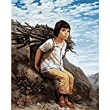 Digital Painting DIY Large Size Little Girl Set Fire Figure Canvas Room Art Deco Picture Children Gift-40X50Cm-Framed