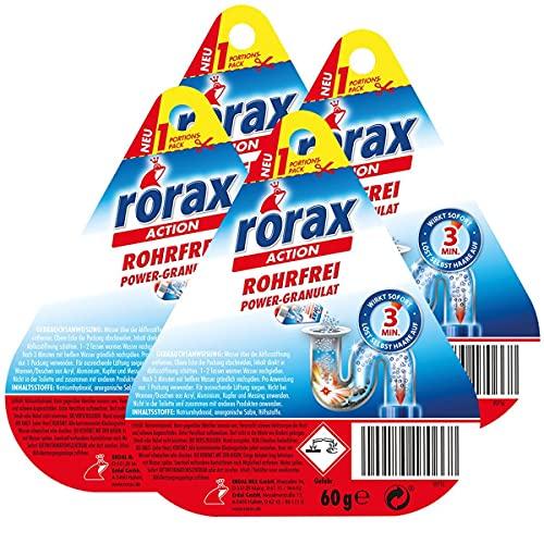4x rorax Rohrfrei Power-Granulat Portionspack 60g - Wirkt sofort & löst selbst Haare auf