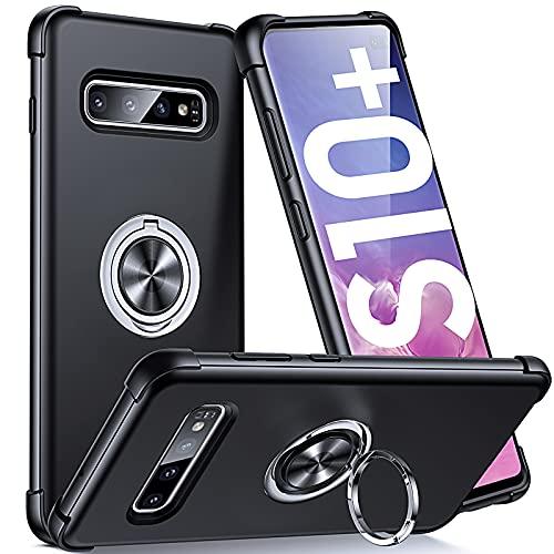 Supdeal Compatible con Funda Samsung Galaxy S10 Plus (6,4'), Carcasa Posee Anillo Magnético Prueba de Golpes de 360 Grados Resistente Rayones, Protección Cubierta del Soporte, Negro