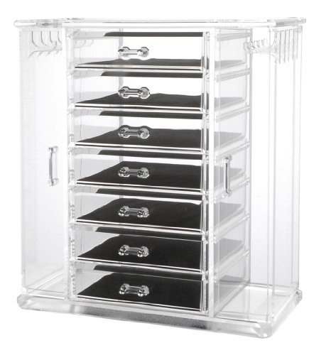 Hot Sale Deluxe 7-Drawer Acrylic Jewelry Chest with Necklace Keeper