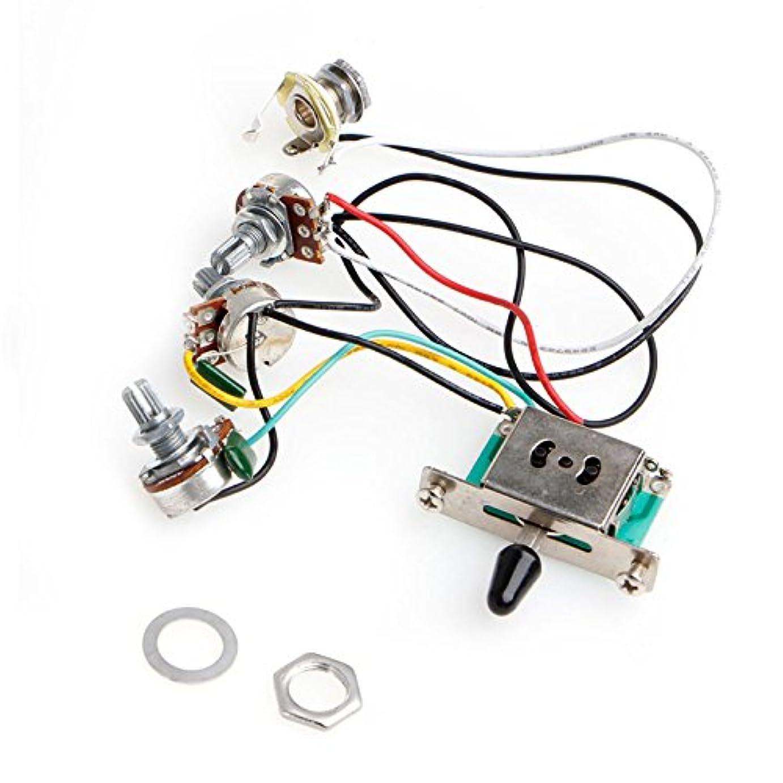 むき出し評議会みなすSimpleLife 5ウェイスイッチ250kポットは、ストラットストラトキャスターギターのハーネスピックアップを配線します。