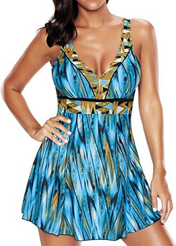 PANOZON Damen EIN Stück Große Größen Rückenfrei Retro UV Schutz Bandeau Monokinis Tankini Schwimmanzug (Blau und Gelb, 2XL)