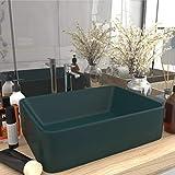 UnfadeMemory Lavamano Luxury Lavabo Lavandino Lavello da Appoggio per Bagno   Ceramica 41x30x12 cm (Verde Scuro)
