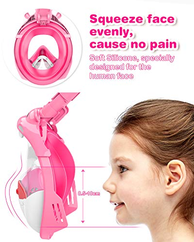 Tesoky Snorkel Mask,Foldable Kids Full Face Snorkeling Mask, Anti-leak & Anti-fog Snorkel Set Kids for Swim Snorkel Training, Hippo Design/Dry Top System/180° View/Soft Silicone/Freely Breath (Pink)
