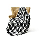 FFLMYUHUL I U Ultra Super Soft Lightweight Throw Blanket Cozy Cabin Geometric Plaid Blanket for Bed Couch Warm Fuzzy Blanket 50'' X 60'' Black-and-White Check