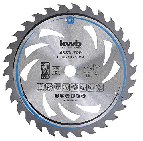 kwb 586554 Energy-Saving Kreissäge-Blatt Easy Cut, Ø 190 x 16 mm Dünn-Schnitt mit Spezial-Wechselzahn 30 Zähnen Z30, AKKU-TOP Dünnschnitt, 190 x 16