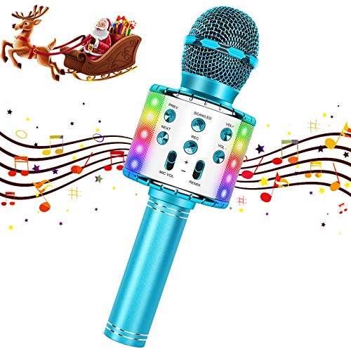 Karaoke Microphone Wireless Bluetooth for Kids Girls Adults Rechargeable Portable Handheld Mic Speaker Machine Singing Christmas Birthday Home Party Toys Gifts for iPhone Smartphone TV (Blue)