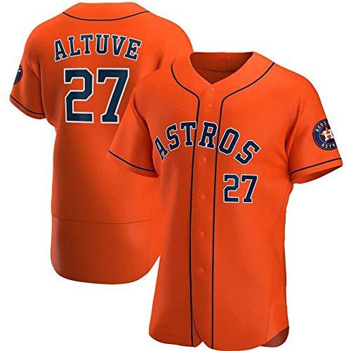 HYQ MLB Jersey, Astros # 27# 2 Personalisierte Baseball-Shirt mit V-Ausschnitt Zweireihiger Jersey beiläufige Halbarm-Shirt,Elite red 27,L/50