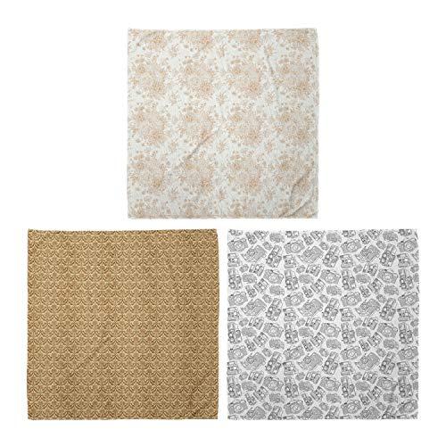 ABAKUHAUS Unisex Bandana, Soft Monochrome Bouquet Kurvige Blätter Gänseblümchen Antike Kamera Hobby, 3er Pack, Mehrfarbig