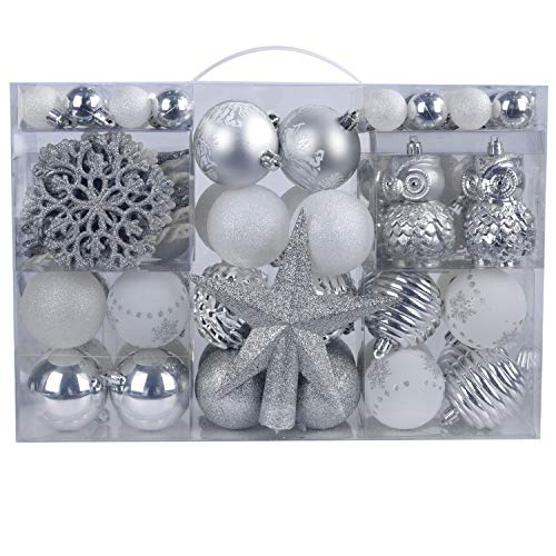 YILEEY Christmas Tree Decorations Baubles Set White and Sliver 108 pcs in 15 Types, Plastic Shatterproof Xmas Balls Box with Hanger, Decorative Ornaments Pendants Gifts Holiday Wedding Party