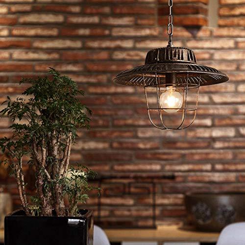 Lámpara de araña industrial Retro Lámpara colgante de una sola cabeza Tapa de olla de hierro forjado Luz de techo Iluminación LED Decoración Estilo antiguo para restaurante, bar, dormitorio, c