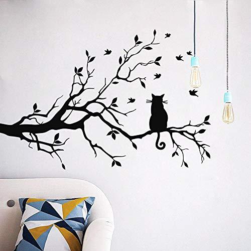 aolongwl Pegatinas de pared de gato en una rama de árbol pegatina de pared de salón sofá fondo dormitorio decoración del hogar arte calcomanías papel pintado a mano pegatinas talladas pegatinas