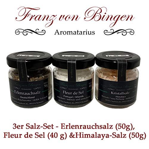 Franz von Bingen - 3er Salz-Set mit unterschiedlichen Gourmet- / Premium-Salzen: Fleur de Sel, Erlen-Rauchsalz und Kristallsalz aus Punjab/Pakistan (3 x 40 bzw. 50g)