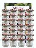 hocz Juego de tarros de cristal | Cantidad 25 unidades | Capacidad 125 ml | Incluye tapa de rosca color rojo a cuadros 25 etiquetas | Para tarros de mermelada etiquetas para el hogar