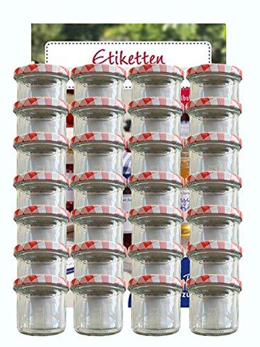 Tarro Juego de tarros vasos | cantidad 25pieza | cantidad de relleno 125ml, con Tapa de rosca Tapa Color Rojo Cuadros 25etiquetas NZ | para mermelada (presupuesto etiquetas etiquetar vasos