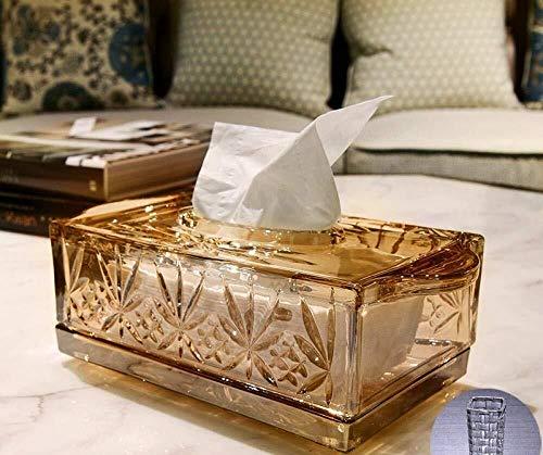 WY-YAN Tejido Caja de pañuelos de dispensadores de Papel higiénico Caja de Almacenamiento Caja de pañuelos Oficina de la Sala de Cristal Caja de Gama Alta decoración Transparente