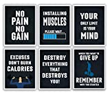 Gym Posters for Home Gym Decor - Motivational Posters for Gym - Workout Posters for Home Gym - Motivational Poster - Fitness Posters - Workout Room Decor - Inspirational Posters - Gym Wall Art - Set of 6 - 11x14'