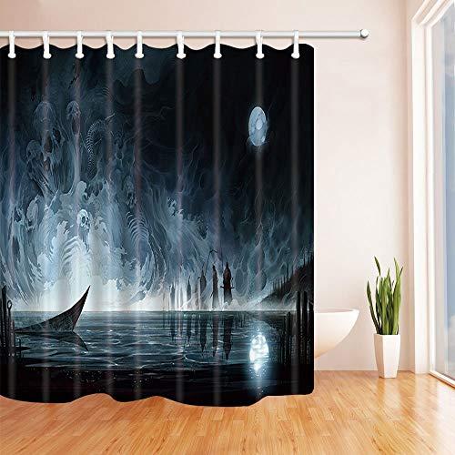 mintlmk Halloween douchegordijnen voor badkamer Water Ghost Skeleton tegen volledige maan Terror Thema polyester stof waterdichte bad gordijn douchegordijn haken inbegrepen 71X71in
