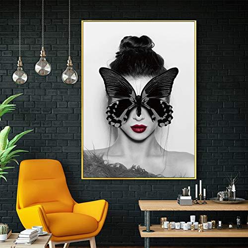 GUDOJK wandschilderij Pop Art Modern Abs kenmerk vrouwen kunst canvas afdrukken Nordic zwart wit poster wandschilderijen voor woonkamer etalage decoratie 40x60cm(16x24inch)