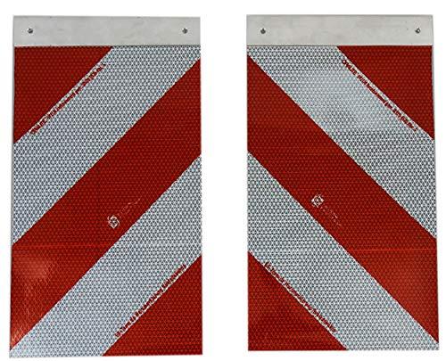 UvV Set Hubladebühnen Warnflagge Ladebordwand Warnfahne Alu Schiene 250 x 400 mm, Links- und rechtsweisend