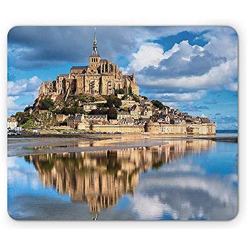 Mittelalterliche Mauspad, französische Burg auf dem Meer Foto des historischen Kulturerbes der Renaissance, Mousepad, Creme