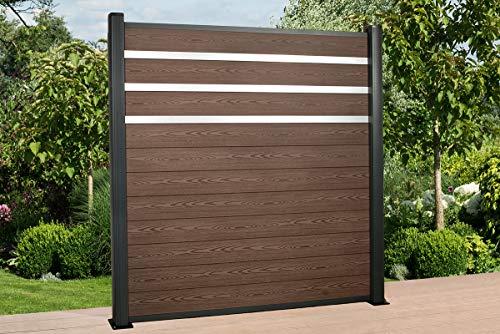 DeToWood Hochwertiger WPC Zaun mit Alu- Pfosten & Zierleisten (190x9x9 cm zur Bodenmontage) Maße: 1,8 bis 21,6 Lfm, Modell: Premium, Farbe: Braun/Grau (19.8)
