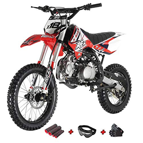 125cc Adults Dirt Bike with 4-Speed Manual Transmission, Double Spare Frame! Kick Start, Big 17'/14' Tires! Not Legal in California (Black)