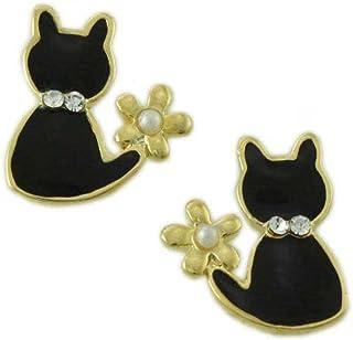 Little Enamel Black Cat with Pearl Flower Halloween Pierced Earring