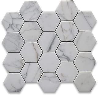 Calacatta Gold Italian Calcutta Marble Hexagon Mosaic Tile 3 inch Honed