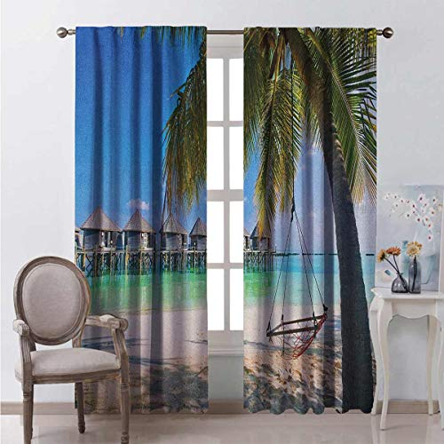 Toopeek Beach Shading Insulated Curtain Hammock Under Palm Leaves in Golden Heaven Beach Paradise Caribbean Peace Sun Print Soundproof Shade W84 x L84 Inch Multicolor