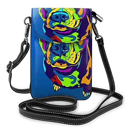 SCIWKAL Bolso de Teléfono Móvil para Mujer Pit Bull Terrier Matted Prints Pequeños bolsos Crossbody del teléfono celular monedero para las mujeres Multifunción Adecuado para uso diario y viajes