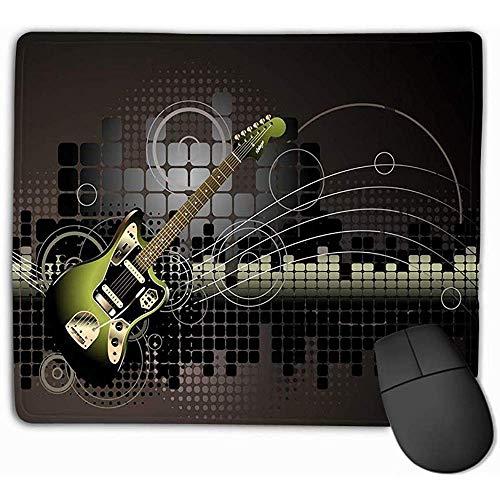 Familie Muis Pad,Standaard Grootte Rechthoek Niet-slip Rubber Mousepad 30X25CM Elektrische Gitaar Muziek Achtergrond Waterkleur