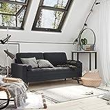 VASAGLE Sofa 3 Sitzer, Couch mit Bezug aus Samt, 176 x 83 x 84 cm, Polstermöbel für kleine Wohnungen, Gästezimmer, Jugendzimmer, Holzgestell, einfacher Aufbau, grau, LCS50GY - 5