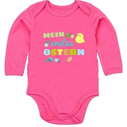 Shirtracer Shirtracer Ostern Baby - Mein erstes Ostern Junge - 3/6 Monate - Fuchsia - Mama Baby Ostern - BZ30 - Baby Body Langarm