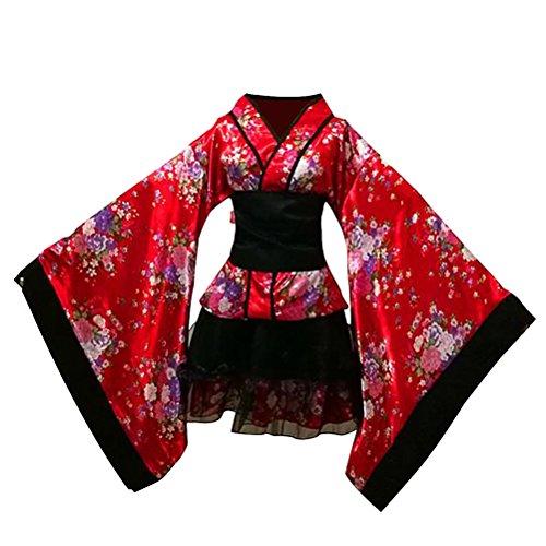 Fenical Frauen Kirschblüten Anime Cosplay Lolita Kleid Japanischen Kimono Kostüm Kleider Kleidung Halloween Kostüm Größe M (Rot)