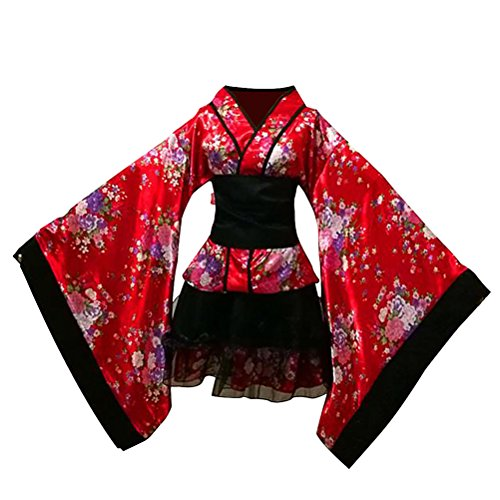 FENICAL Sakura Cosplay Robe Anime Lolita Kimono Japonais Costume Robes Vêtements Halloween Taille S (Rouge)