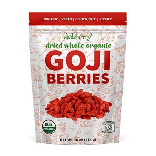 Wholeberry organic wolfberry gouqi Goji berries 16oz| Raw, Vegan, Gluten Free Super food High in Plant Based Protein, Dietary Fiber, Vitamin A & Iron | Large