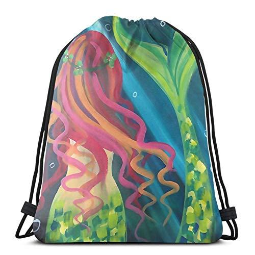 LREFON Gimnasio Bolsas con cordón Mochila Fishtail Girl Sackpack Tote para viajar Almacenamiento Organizador de zapatos Ahorro de compras Niños