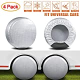 AmFor Tire Covers Set of 4,Waterproof Aluminum Film Tire Sun Protectors,Weatherproof Tire Protectors,Fits 19' to 22' Tire Diameters