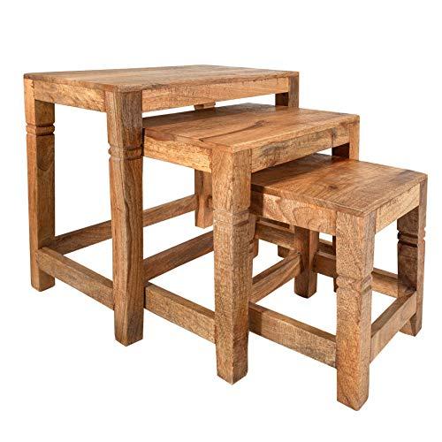 Invicta Interior Massives 3er Set Beistelltische FINCA 45cm Mangoholz Natur platzsparend Satztische Tischset Wohnzimmertische Tische