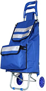 JDFHSD Mini Lightweight Hard Wearing 2Wheel Grocery Shopping Trolley Cart, 40L Travel Trolley Bag (Color : Blue)