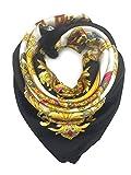 YOUR SMILE Silk Like Scarf Women's Fashion Pattern Large Square Satin Headscarf Headdress Black Chain Carriage