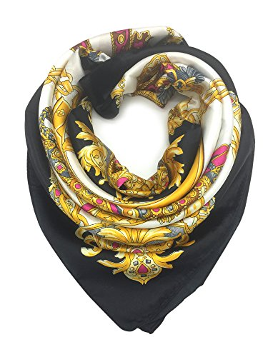 YOUR SMILE Silk Like Scarf Women's Fashion Pattern Large Square Satin Headscarf Headdress Black Chain Carriage