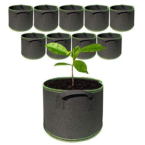 MHGLOVES Bolsa De Cultivo De Plantas, 5 Galón Macetas De Tela No Tejida con Asas, Maceta Transpirable Y Durable para Papas, Tomates, Flores Y Verduras En Jardín, Paquete De 10